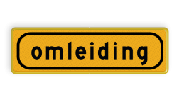 Tekstbord - T101 - omleiding - Werk in uitvoering Fluor geel / gele rand, (RAL 1023 - geel), Hier uw eigen, tekstregels, Klik op bewerk >, en pas de , tekst aan!
