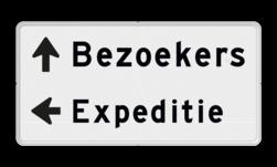 Routebord 2 regelig + pijl links - eigen tekst routebord, camping, eigen terrein, bezoekers