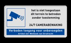 Bordje Camerabewaking met verboden toegang cameraregistratie, camera, bewaking, eigen terrein, beveiliging, videoregistratie, BP06, Preventie, Toezicht