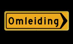 Tekstbord - T102R - Omleiding - Werk in uitvoering Fluor geel / gele rand, (RAL 1023 - geel), Hier uw eigen, tekstregels, Klik op bewerk >, en pas de , tekst aan!