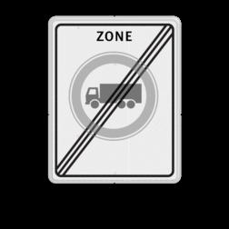 Verkeersbord RVV C07zbe - einde zone - Gesloten voor vrachtauto's Zonebord , A01-30, zone, einde, gesloten verklaring, verboden voor vrachtwagens, vrachtauto's