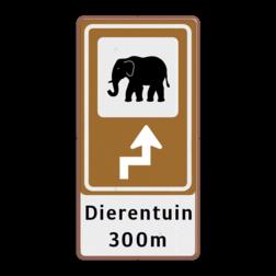 Bewegwijzering Openbare ruimte + tekst   BW101 + pijlfiguratie Wit / Bruine rand, (RAL 8002 - bruin), BEW101 rotonde links, dierentuin, olifant