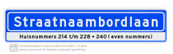 Straatnaambord 18 karakters 1000x200 mm + Huisnummers NEN 1772 cadeau, kado, Straatnaam kado, eigen tekst op een bord, NEN1772, reflecterend bord, officieel straatnaam, ondertekst, relatiegeschenk, straatnaamborden
