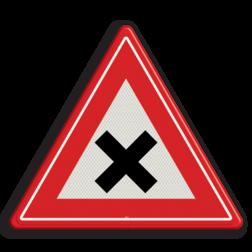 Verkeersbord Vooraanduiding gevaarlijk kruispunt Verkeersbord RVV J08 - Vooraanduiding gevaarlijk kruispunt J08 kruising, let op, pas op, gelijk waardige kruising, J8, kruispunt, kruisende wegen
