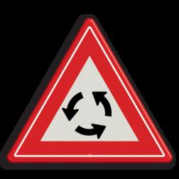 Verkeersbord Je nadert een rotonde Verkeersbord RVV J09 - Vooraanduiding rotonde J09 let op. pas op, rontonde, J9, rondtonde
