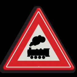 Verkeersbord U nadert een onbewaakte overweg Verkeersbord RVV J11 - Vooraanduiding overweg zonder slagbomen spoorwegen, spoorwegovergang, overgang, overweg, trein, treinen, let op, pas op, J11