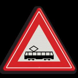 Verkeersbord Je nadert een tram(kruising) Verkeersbord RVV J14 - Vooraanduiding tramkruising J14 let op, pas op, tram, spoor, rails, J14, trambaan, tramkruising, tramspoor