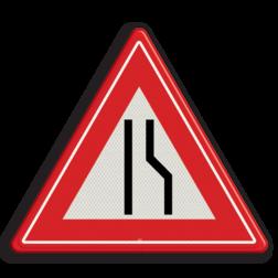 Verkeersbord Rijbaanversmalling rechts / naar links uitwijken. Verkeersbord RVV J18 - Vooraanduiding rijbaanversmalling rechts J18 let op, pas op, opstakel, J18, rijbaanversmalling