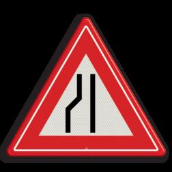 Verkeersbord Rijbaanversmalling links / naar rechts uitwijken. Verkeersbord RVV J19 - Vooraanduiding rijbaanversmalling links J19 let op, pas op, opstakel, J19, versmalling