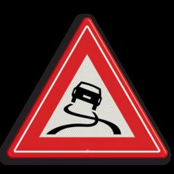 Product Slipgevaar (glad wegdek) Verkeersteken RVV J20 - klasse 3 gladde weg, let op, pas op, J20, gladheid