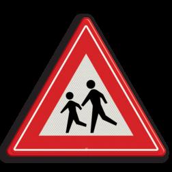 Verkeersbord Overstekende (spelende) kinderen Verkeersbord RVV J21 - Vooraanduiding overstekende kinderen J21 let op, pas op, speldende kinderen, J21, overstekende kinderen