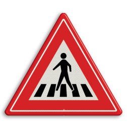 Verkeersbord Voetgangersoversteekplaats met een zebrapad Verkeersbord RVV J22 - Vooraanduiding voetgangers-oversteekplaats J22 let op, pas op, oversteken, oversteekplaats, zebrapad, voetganger, J22, oversteekplek