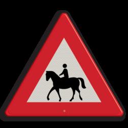 Verkeersbord Vooraanduiding oversteken ruiters Verkeersbord RVV J27_ruiter - Vooraanduiding oversteken ruiters hert, overstekend wild, springend hert, driehoeksbord, gevaar, let op, pas op, dieren, J27, paard, ruiter