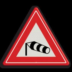 Verkeersbord Gevaarlijke zijwind Verkeersbord RVV J31 - Vooraanduiding zijwind J31 wind, windzak, let op, pas op, storm, J31, zijwind