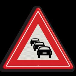 Verkeersbord Waarschuwing met kans op file Verkeersbord RVV J33 - Vooraanduiding file J33 filevorming, pas op, let op, filegevaar, J33, stil staand verkeer, stilstaand verkeer