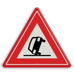 Verkeersbord Vooraanduiding ongeval Verkeersbord RVV J34 - Vooraanduiding ongeval J34 pas op, let op, ongeluk, gekantelde auto, J34, ongeval