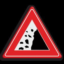 Informatiebord Pas op vallend gesteente Informatiebord - vallend gesteente gevaar, vallende stenen, rotsblokken op de weg
