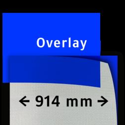 Transparant overlay blauw 914mm breed reflex, fluoricerend, reflecterend, retroreflex, retroreflecterend, retro, bordfolie, signface