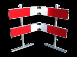 Afzethek 1500mm KLAPBAAR EZ klasse 3 rood/wit geledebaak, baken, hek, afzethek, planken, afzetmateriaal