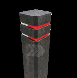 Diamantkoppaal kunststof met twee reflecterende bandjes diamantkop, paal, bermpaal, kunststof, recycling,