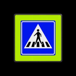 Verkeersbord Voetgangers oversteekplaats / zebrapad Verkeersbord RVV L02f - Voetgangers oversteekplaats / zebrapad L02f oversteken, voetganger, wandelen, L2, zebrapad, oversteekplaats, oversteekplek