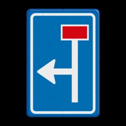 Verkeersbord Voorwaarschuwing doodlopende weg Verkeersbord RVV L09-1l - Doodlopende weg - voorwaarschuwing L09 doodlopende weg, l9, versperring, geen doorgang, L9, vooraanduiding, geen doorgaande weg
