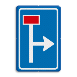 Verkeersbord Voorwaarschuwing doodlopende weg Verkeersbord RVV L09-1r - Doodlopende weg - voorwaarschuwing L09 doodlopende weg, l9, versperring, geen doorgang, L9, geen doorgaande weg, vooraanduiding, voorwaarschuwing
