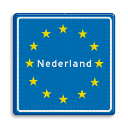 Verkeersbord Europees Grensbord Nederland Verkeersbord RVV L403 - Grensbord europa L403 duitsland, belgië, nederland, frankrijk, italië, spanje, L403, grensbord, europa, grensbord, grens, overgang, landbord, land, verkeersbord, grensovergang