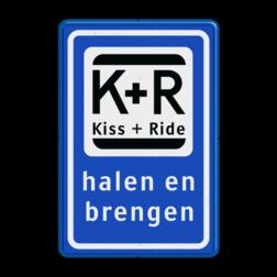Informatiebord Zone voor parkeergelegenheid ten behoeve van het afzetten van iemand, Het zogenaamde zoen en zoef verkeersbord Informatiebord KISS & RIDE - halen en brengen - L52b ZONE, Kiss + Ride, alleen tijdens, schooluren, parkeerplaats, parkeerplek, kiss, ride , overstapplaats, overstappen, E12,  zoen en zoef, L52b, L52e, L52