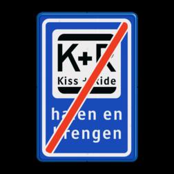 Informatiebord Einde zone voor parkeergelegenheid ten behoeve van het afzetten van iemand, Het zogenaamde zoen en zoef verkeersbord Informatiebord KISS & RIDE - halen en brengen - einde - L52e parkeerplaats, parkeerplek, kiss, ride , overstapplaats, overstappen, E12, zoen en zoef, p r, p+r, k r , k+r, L52