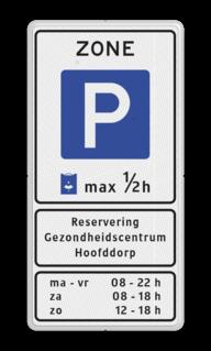 Verkeersbord Start parkeerzone Verkeersbord RVV E10zb - txt - Start parkeerzone zonebord, E1
