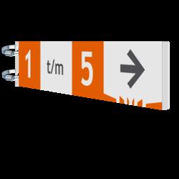 Naambord 700x150x15mm Alum. koker DZ verwijsbord, route