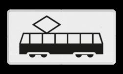 Verkeersbord Onderbord - Geldt alleen voor tram Verkeersbord RVV OB14 - Onderbord - Geldt alleen voor tram OB14 Tram, wit bord, OB14, geldt alleen voor tram