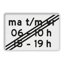 Verkeersbord Onderbord - Einde periode Verkeersbord RVV OB256p2e - Onderbord - Einde periode OB256p wit bord, OB206p, onderbord, tijdsbeperking, einde, periode