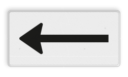 Verkeersbord Onderbord - Route- pijlbord Verkeersbord RVV OB501 - Onderbord - Route- pijlbord OB501 pijl links, wit bord, richting, OB501