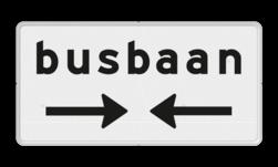Verkeersbord Onderbord - Kruising busbaan Verkeersbord RVV OB503OB619- Onderbord - Kruising busbaan OB503OB619 bus, busbaan, baan pijlen, rechts en links, wit bord. OB503, OB619, OB503OB619