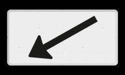 Verkeersbord Onderbord - Verwijzing rijbaan of parkeervak Verkeersbord RVV OB504l - Onderbord - Verwijzing rijbaan of parkeervak pijl links, wit bord, richting, OB501, schuin links, OB504