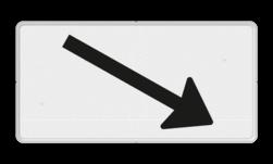 Verkeersbord Onderbord - Verwijzing rijbaan of parkeervak Verkeersbord RVV OB504r - Onderbord - Verwijzing rijbaan of parkeervak pijl rechts, wit bord, richting, OB501, schuin rechts, OB504