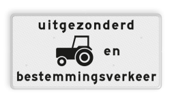Verkeersbord Onderbord - uitgezonderd tractoren en bestemmingsverkeer Verkeersbord RVV OB55OB108 - Onderbord - Uitgezonderd tractoren en bestemmingsverkeer OB55OB108 wit bord, Diversen, OB55, OB108, uitgezonderd tractoren en bestemmingsverkeer