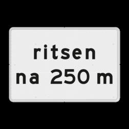 Verkeersbord Onderbord - ritsen na XXX m Verkeersbord RVV OB728 - Onderbord - ritsen na XXX m OB728 wit bord, OB728, ritsen na XXX m, ritsen, invoegen