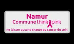 Naambord Commune ThinkPink.be - wit - magenta in huisstijl logobord, eigen ontwerp, schoolplein, speciale borden