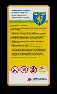 Informatiebord spelregels + logo full-colour opdruk logobord, eigen ontwerp, schoolplein, speciale borden, speeltuin