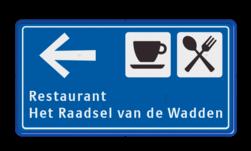 Bewegwijzering rechthoek 2:1 blauw/wit ANWB stijl zelf tekstbord maken, tekst invoeren, blauw bord