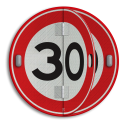 Klapbord - 2 standen - Rond conform RVV ersbo, snelhiedsbord, snelheidbord, 30 km bord, snelheid, zonebord, A1, boekwerkbord, klap-borden, klapperborden, boekbord