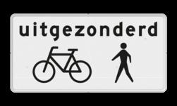 Verkeersbord Onderbord - Uitgezonderd fietsers/voetgangers Verkeersbord RVV OBxx - Onderbord - Uitgezonderd fietsers/voetgangers Obxx wit bord, fiets, brommer, uitgezonderd, uitzondering, OB54