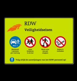 Informatiebord rechthoek RDW Veiligheidseisen logobord, eigen ontwerp, schoolplein, speciale borden