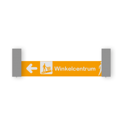 Verwijsbord VOETGANGERS RAL7040 800x150 + reflex | Route | Montagestukken 80x80mm