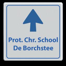 Informatiebord schoolplein wit/blauw - De Borchstee - pijlfig. School, route