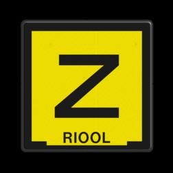 Informatiebord Zinkerbord zwart/geel + tekst Tekstbord, zinker, zinkerbord, kabelbord, kabel, riool, hoogspanning